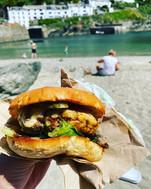 Takeaway burgers on the beach