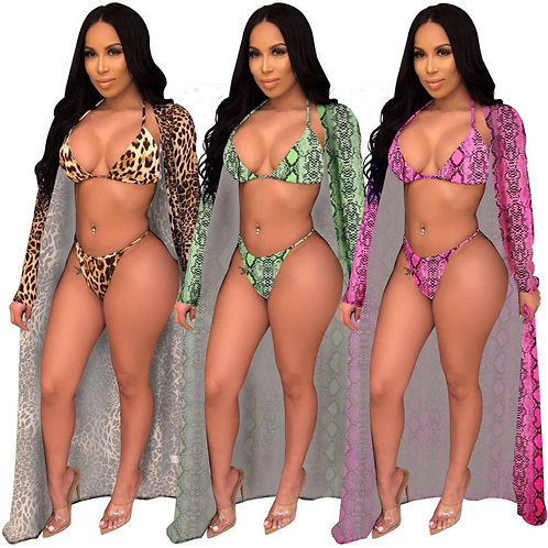 3 piece   snake print with robe