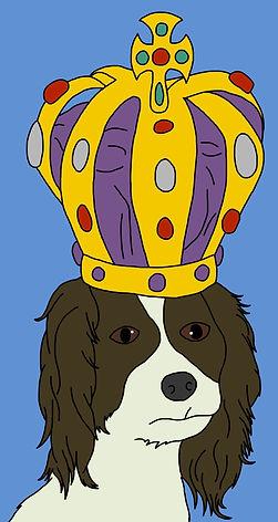 King Charlies Spaniel Dog Wearing Crown Illustration for Children's Book Digital Colour