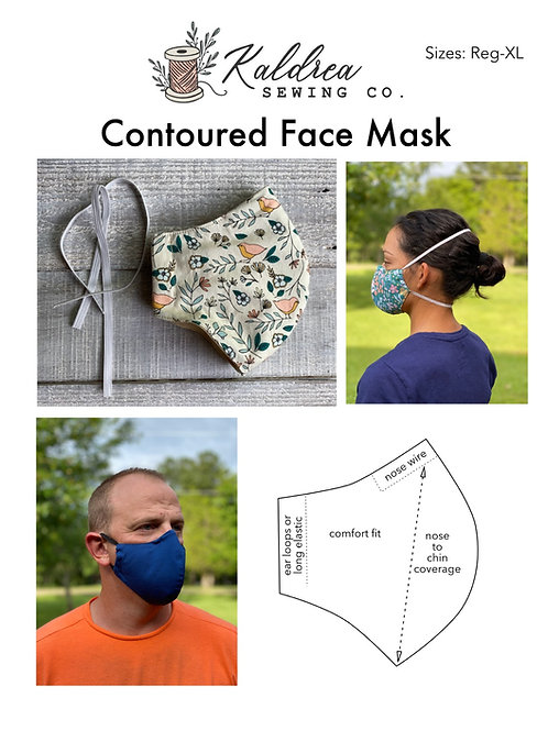 Face Mask PDF sewing pattern- contoured fit