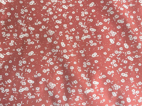 Floral silhouette knit fabric by the half yard- Organic Cotton Birch Fabrics- Tiny Flora Dusty Rose