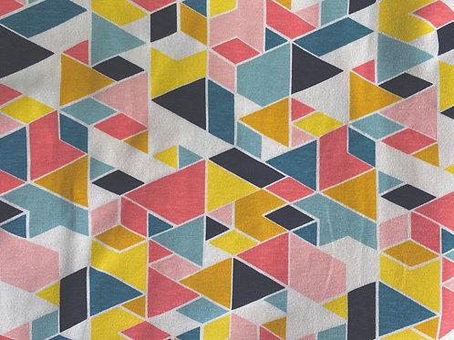 Organic Cotton Jersey Knit- Geometric Multicolor- Birch Fabrics- by the half yard