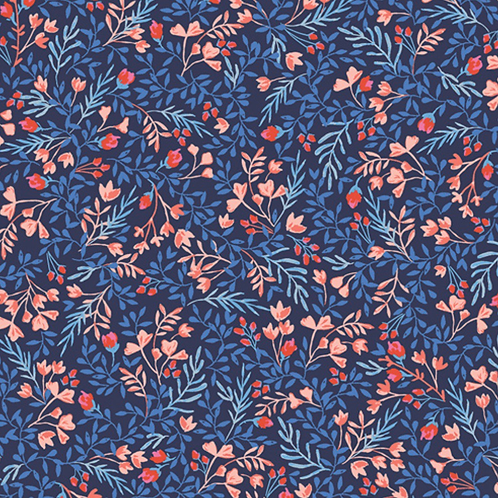 Blue Floral Art Gallery Fabrics- Floral No 9- by the half yard