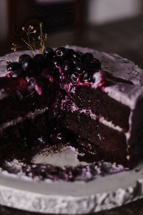 blueberry chocolate lavender cake by simply sweet shop