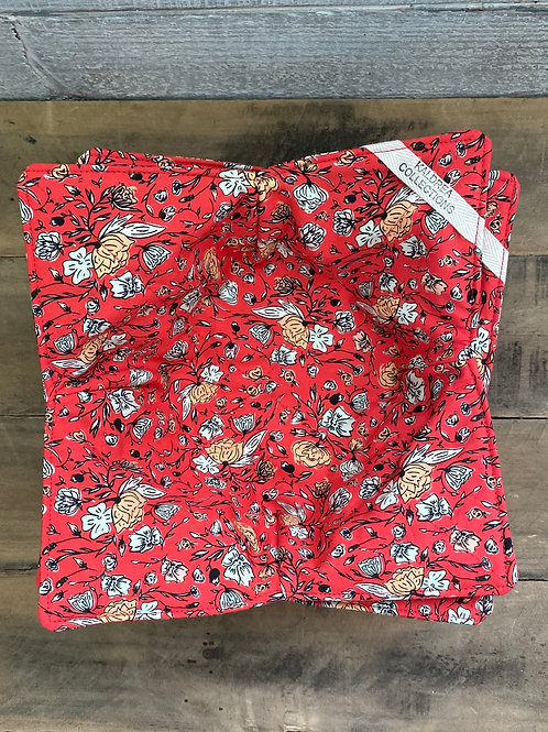 Red Floral Organic Cotton Bowl Cozies