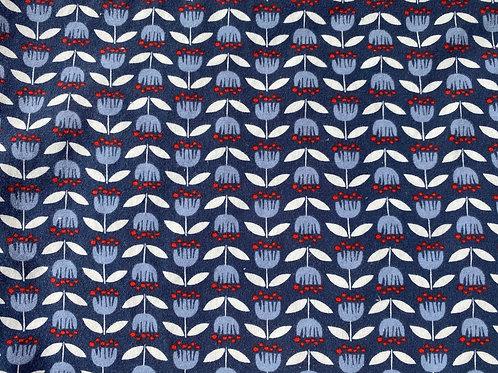 Organic Cotton Jersey Knit- Blue Floral- Monaluna