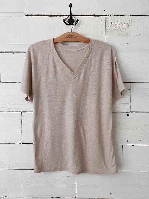 Natural Hemp Organic Cotton Eva Tee, V Neck, Short Sleeve