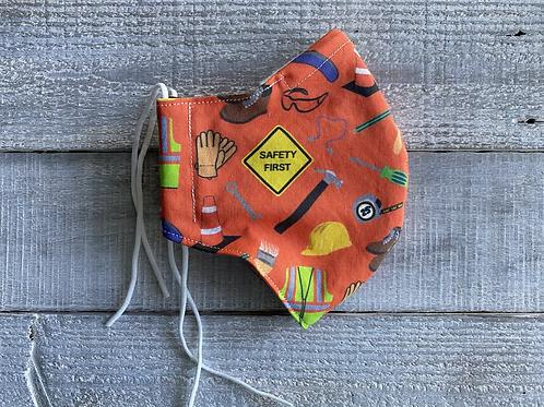 LARGE Mask Orange Safety First CUSTOM PRINT