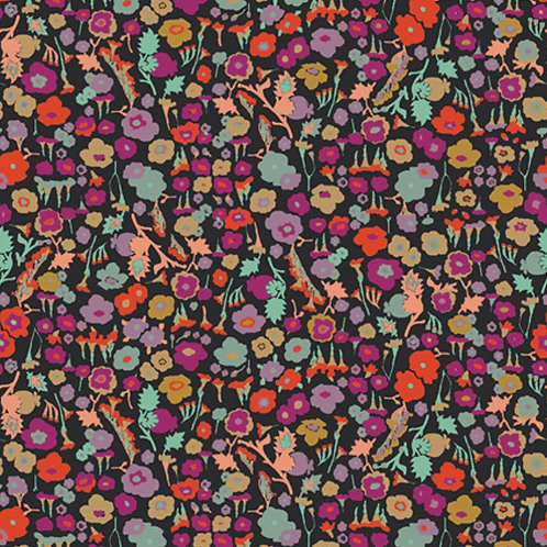 Black Floral Art Gallery Fabrics- Spices Fusion- by the half yard
