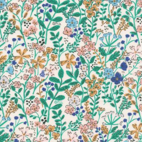 Organic Cotton Floral Fabric by the half yard- Cloud9