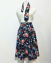 blue floral circle skirt and matching neck tie