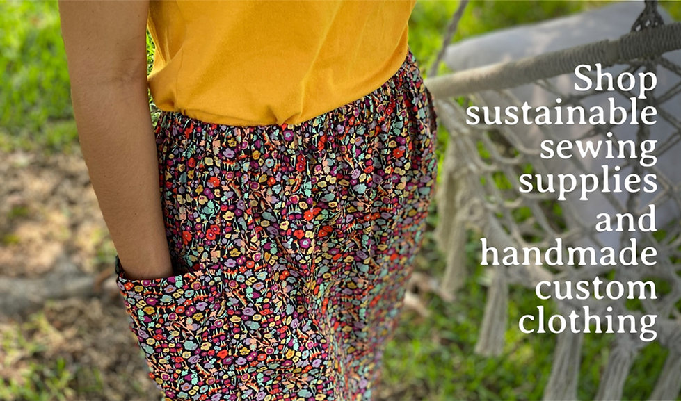 Handmade Sustainable Floral Elastic Waistband Skirt