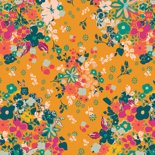 Yellow Floral Art Gallery Fabrics- Femme Metale Bold- by the half yard
