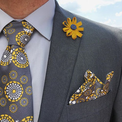 Handmade organic cotton sateen tie and p