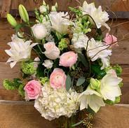 Rose Lilies/Ranunculus/Hydrangea Soft Pinks/Whites/Greens