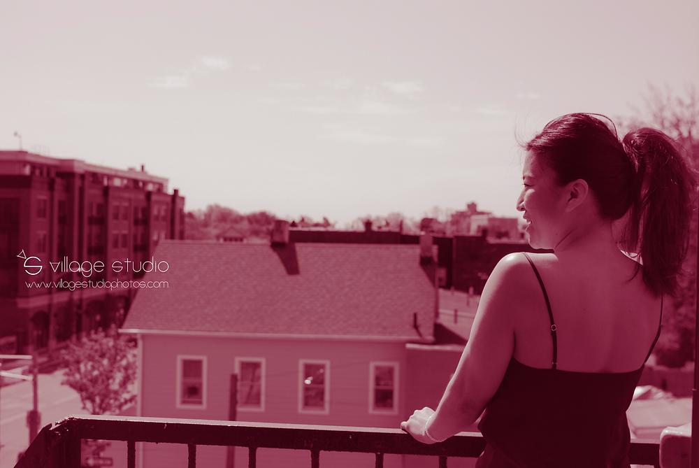 Linda Tsuei, owner of Studio Air on balcony overlooking Downtown Montclair by Village Studio