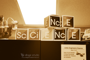 SCIENCE blocks shown with science projects built by Little Engineers Course