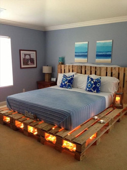 Estructura de cama con luces
