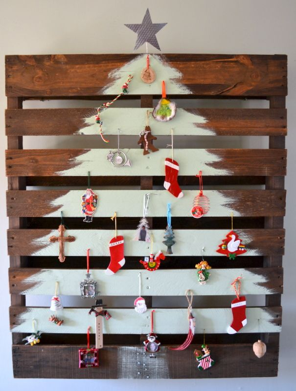 Decoración Navidad sobre palet