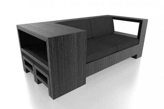 Sofá con mueble auxilar