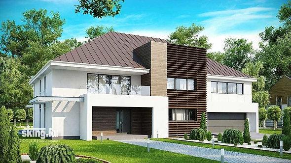 368 м2 Проект дома в стиле хай тек