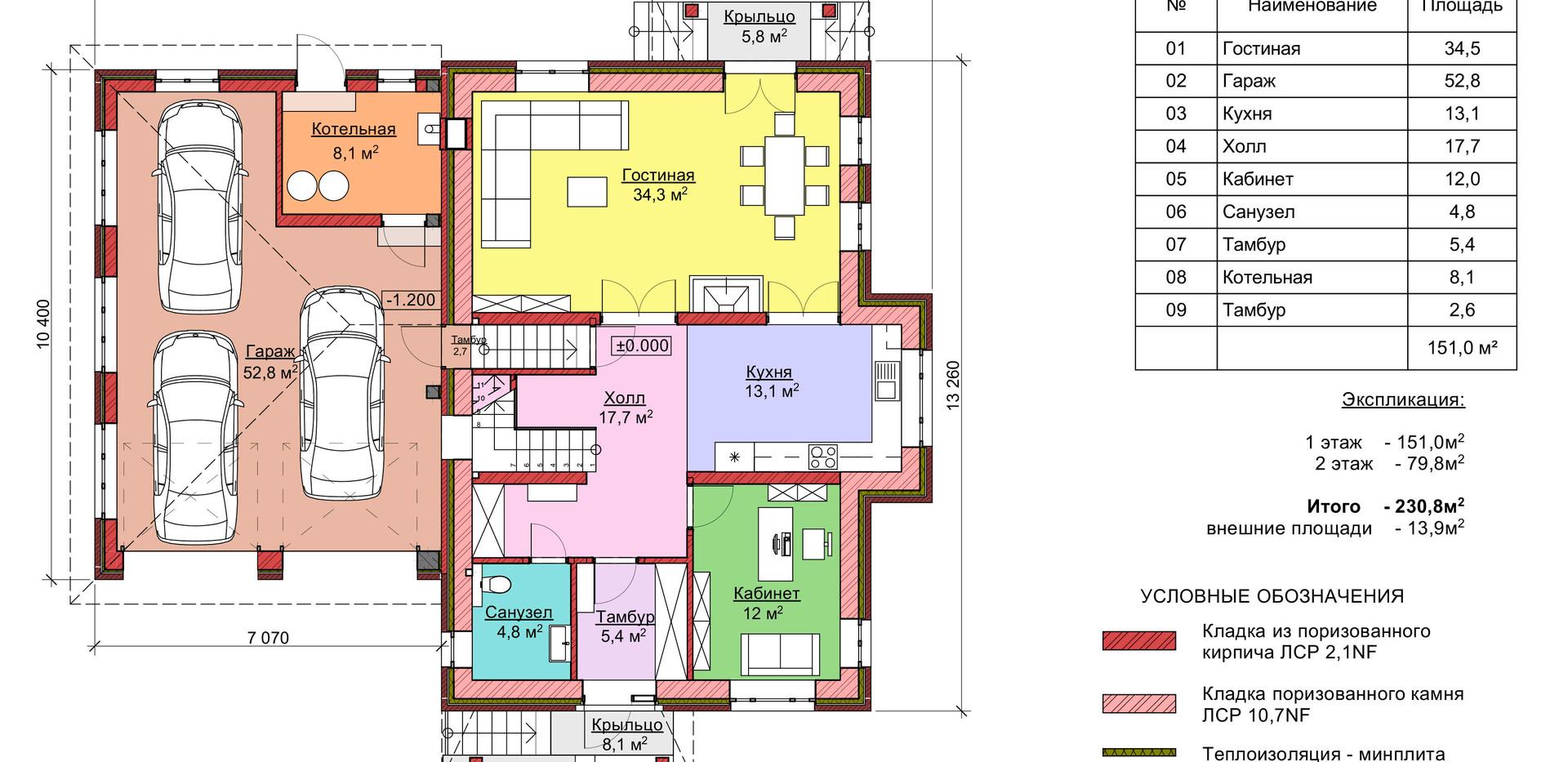 Проект двухэтажного дома из кирпича 207