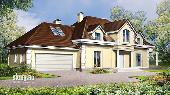 340 м2 Проект дома в стиле кантри