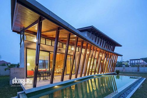 315 м2 Проект дома в стиле хай тек