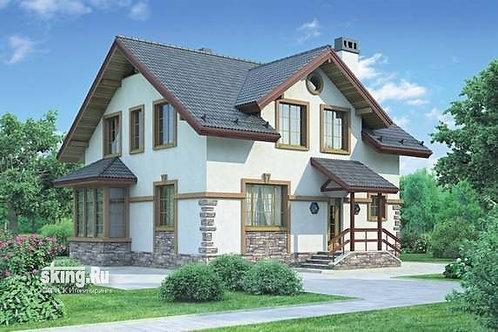 165м2 Проект кирпичного дома с мансардным этажом