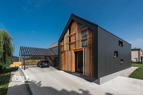 305 м2 Проект дома в стиле хай тек конструктивизм
