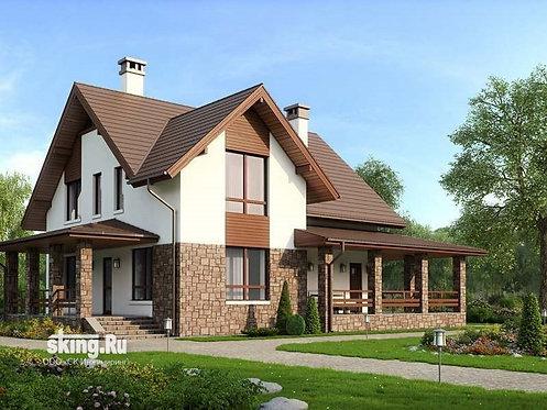 210 м2 Проект дома в стиле кантри