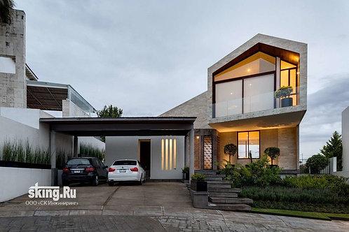 290 м2 Проект дома в стиле хай тек