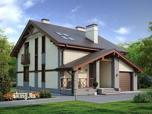 227 м2 Проект дома в стиле кантри - стиле шале