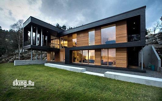 312 м2 Проект дома в стиле хай тек