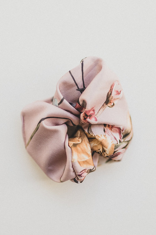 Dusty Pink Floral Scrunchie or Hair Scarf