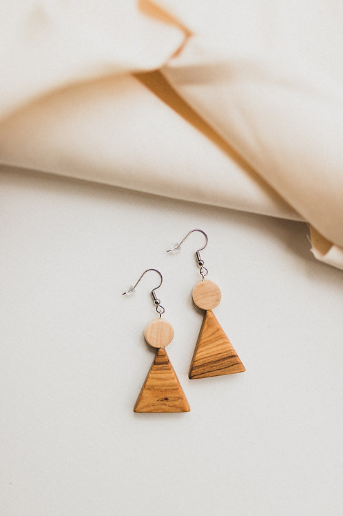 Katrina Triangle Wood Earrings