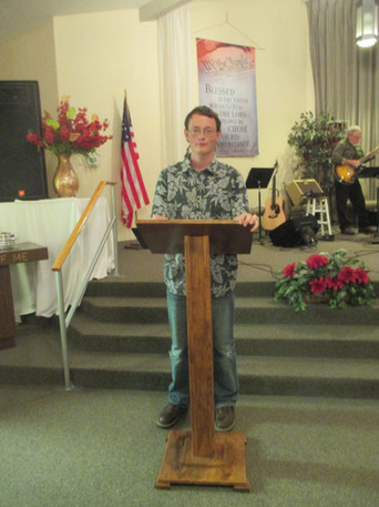 Tony presenting his message to the congregation