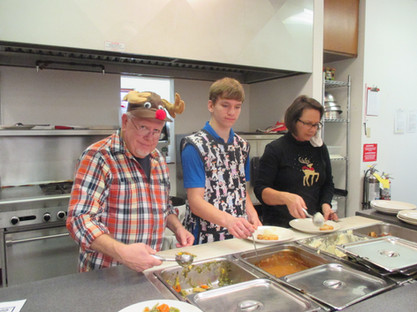 Dishing Up Lunch at the Adult Center