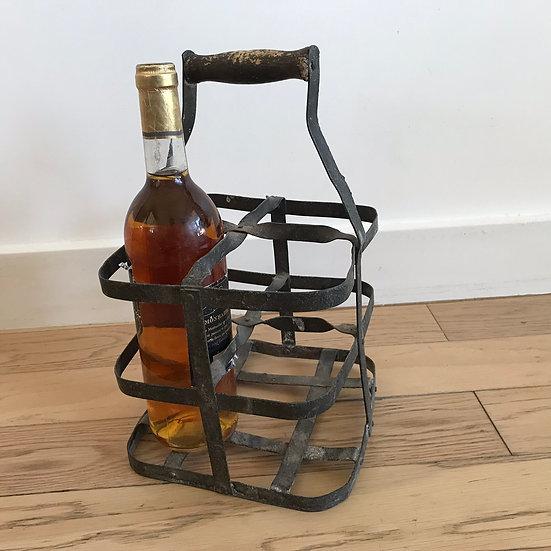 Porte-bouteilles en acier galvanisé Vintage Panier Casier à 4 bouteilles