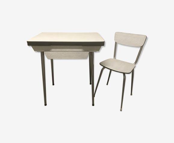 Petite table en formica gris avec sa chaise vintage