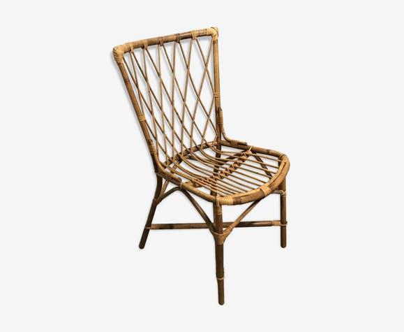 Chaise en rotin vintage année 60