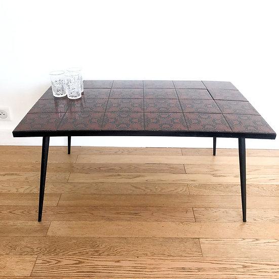 Table basse plateau carreaux de céramique - pieds compas