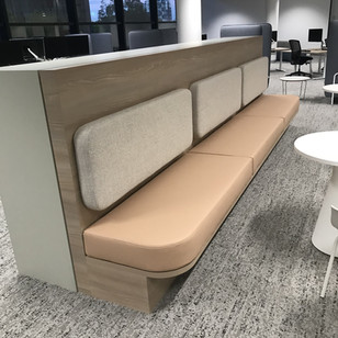 Commercial Client- Custom bench seat & upholstered wall panels.