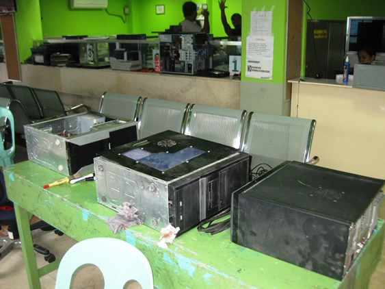 Computers laid out to dry. Many computers were destroyed from water damage, subs