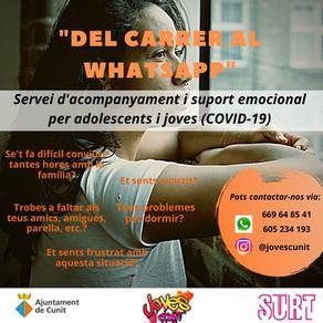 """Espai d'acompanyament i suport emocional per joves: """"Del Carrer al WhatsApp"""""""