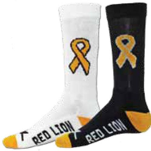 Gold Ribbon Crew Socks