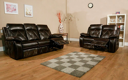Presento 2 & 3 Seat Recliners LeatherAir Brown with Decorative Stitching