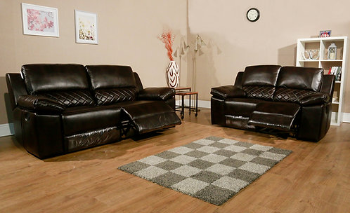 Parla 2 & 3 Seat Recliners LeatherAir Brown with Grid Patterned Upholstery
