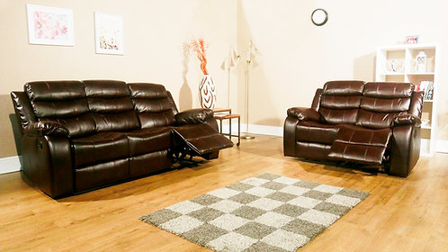 VISTA 2 & 3 Seat Reclining Set Brown LEATHER AIRE