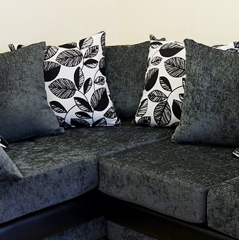 Lush Corner Sofa Grey Chenille With Leaf And Plain Scatters